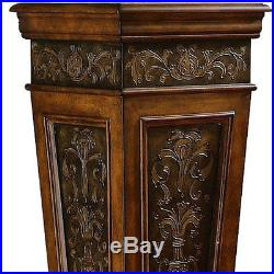 Indoor Plant Stand Pedestal Accent Table Display Tall Wood Metal Entryway Pillar