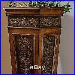 Indoor Plant Stand Tall Accent Pedestal Table Display Pillar Unique Decor Wood