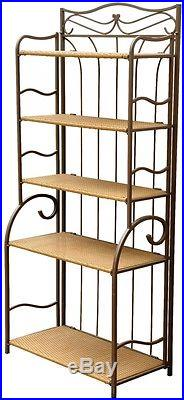 Indoor and Outdoor Rectangular Metal Wicker Traditional Plant Stand 5 Shelves
