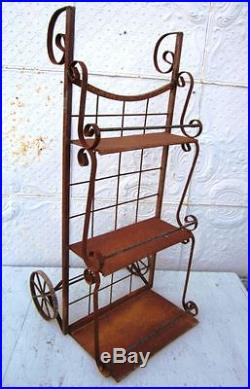 Industrial Look Metal Cart Dolly Plant Stand Flower Pot Holder