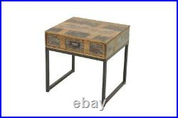 Industrial Side Table/Lamp Table/Solid Wood/Plant Stand/Hand Crafted/Metal Legs