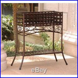 Iron Plant Stand Basket Weave Metal Brown Shelf Box Rectangular Outdoor Porch