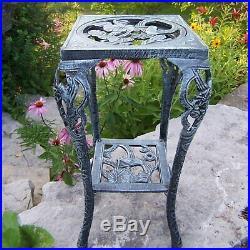 Iron Vintage Table Plant Stand Antique Planter Holder Flower Pot Garden Shelf