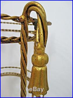 Italian Florentine Shabby Chic Rope Tassel Plant Stand Twisted Metal Gold Gilt