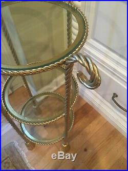 Italian Gilt Metal Tassel Rope 3 Tier Etagere Plant Stand Hollywood Regency