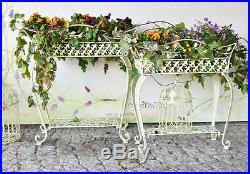 Jardiniere porte plantes blanc ecru jardin vintage shabby chic metal fer forge metal plant stand for Porte plante fer forge blanc