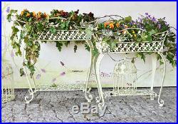 Jardiniere Porte Plantes Blanc Ecru Jardin Vintage Shabby Chic Metal Forge