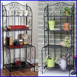 Kitchen Baker Rack Black Metal Storage 4 Shelves In/Outdoor Folding Plant Stand