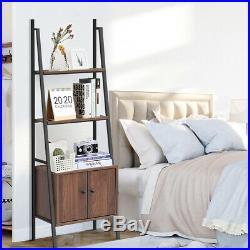 Ladder Shelf 3 Tier Bookcase Metal Frame Bookshelf WithStorage Cabinet Plant Stand