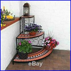 Large 3-Tier Plant Stand Indoor/Outdoor Metal Corner Flower Shelf 40 Inch Tall