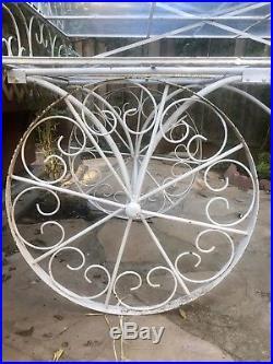 Large Antique Ornate Garden Flower, Brunch, Bar, Snack, Service, or Display Cart