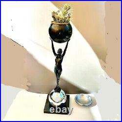 Large Art Deco Frankart Style Sculptural Nude Floor Ashtray/ Plant Stand Chrome