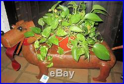 Large Blue Hand Work Dachshund Daisy Handcrafted Metal Art Sculpture Plant Stand