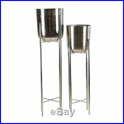 Large Modern Metallic Silver Metal Planters with Stands Set Silver