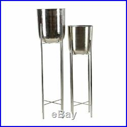 Large Modern Metallic Silver Metal Planters with Stands Set of 2 12 x 46