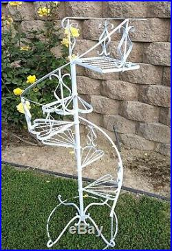 Large Vintage Wrought Iron Metal Spiral Staircase Garden Plant Stand