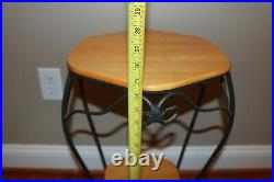 Longaberger Wrought Iron Generations Table Plant Stand with Two Woodcrafts Shelves