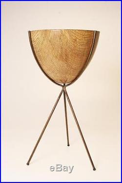 MID CENTURY MODERN BULLET PLANTER fiberglass metal plant stand vintage kimball