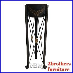Maitland Smith Metal Adams Piant Decorated Lamp End table Pedetsal Plant Stand