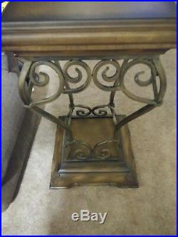 Maitland Smith Wrought Iron Wooden Plant Side Table Stand
