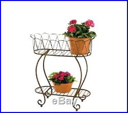 Metal 2 Tier Oval Wave Planter Plant Stand Outdoor Flower Pot Rack Garden Decor