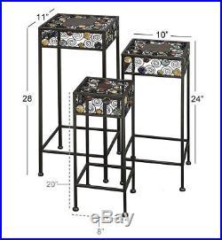 Metal Ceramic Plant Stand 3 Pack Bed Living Bath Room Sculpture Decor Display
