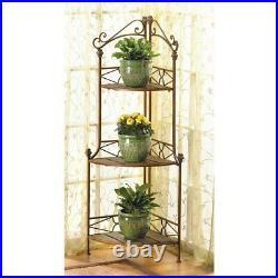Metal Corner 3 Shelf Baker's Rack Flower Pot Plant Stand Indoor Garden Patio Dec