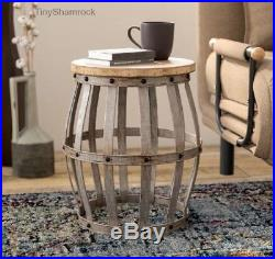 Metal Drum Stool Rustic Industrial Style Accent Table Furniture Plant Stand Wood