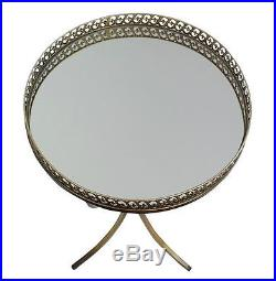 Metal End Table Round Mirror Top Distressed Antique Side Accent Plant Stand