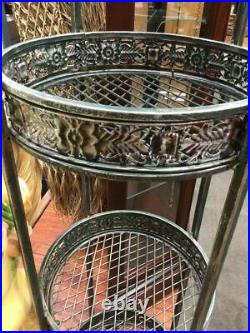 Metal Etagere Plant Stand 4 Tiers Round Floral Banding 77 Tall