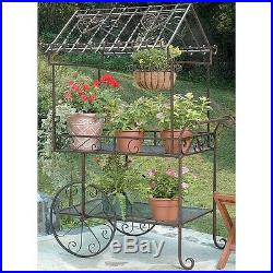 Metal Flower Pot Cart Large Iron Plant Stand On Garden Display Bench Patio Decor