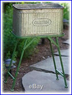 Metal Garden Tub Planter with Green Stand Farmhouse Yard Home Decor 31 H NEW