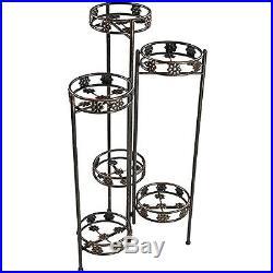 Metal Plant Stand 6-Tiered Folding Flower Holder Garden Pot Shelf Display Tall