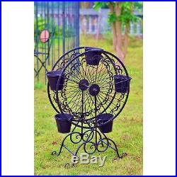 Metal Plant Stand Ferris Wheel Plants Flowers Decorative Display Lawn Garden