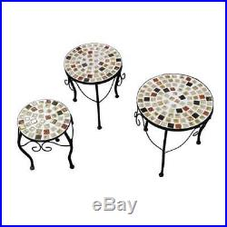 Metal Plant Stand Set/3 Mosaic Metal Plant Stand Garden Decor Plant Stand