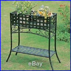 Metal Planter Stand Elevated Rectangular In Black Wrought