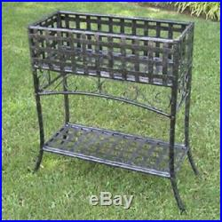 Metal Planter Stand Elevated Rectangular in Black Wrought Iron, Rust Protected