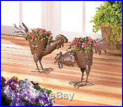 Metal Rooster Planter Flower Plant Pot Stand Container Garden Indoor Outdoor 2pc