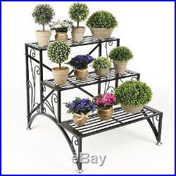 Metal Stand Garden Plant Shelf Flower Pot Rack Display Decor Holder Step 3 Tier