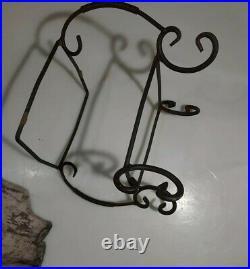 Metal rod scroll cast iron rustic flower pot holder Hurricane Stand 2 piece set