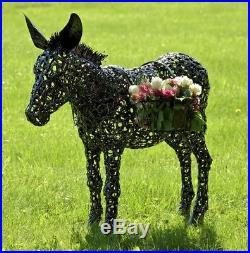 Metallic Donkey Flower Plant Stand Lawn Ornaments Garden Decor Yard Art