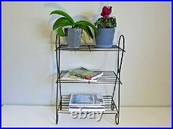 Mid Century Atomic Plant Stand Black Wire Towel Rack Starburst LP and Book Rack
