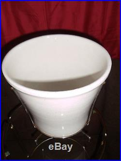 Mid Century Hand Thrown Ceramic Planter Plant Stand Flower Pot Orig. Metal Stand