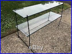 Mid Century Iron Rebar & Glass Shelf Bookcase Bookshelf Rack Plant Stand Unit