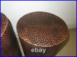 Mid Century MODERN LOT of 2 Nesting Hammered Copper Tables or Plant Stands 22 20
