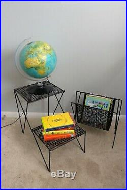 Mid Century Mesh 2 Tier End Table and Matching Magazine Rack Black Plant Stand