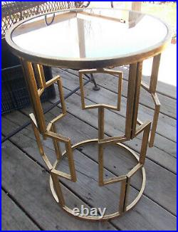 Mid Century Mirrored Metal Plant Stand / Side Table