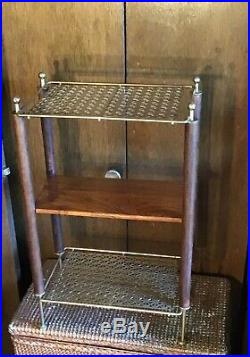 Mid Century Modern Atomic Gold Mesh Teak 3-Tier Plant Phone Stand Side Table 21