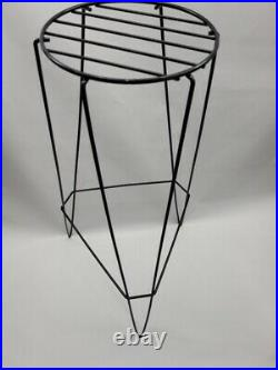 Mid Century Modern Black Metal Wire Plant Stand Tall 30H Vintage Hairpin Legs