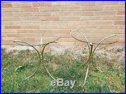 Mid Century Modern Italian Gilt Metal Faux Bamboo Plant Stands A Pair